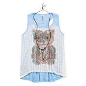 Knit Works® Lace-Front Tank Top with Necklace - Girls 7-16 and Plus