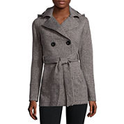 Liz Claiborne® Belted Fleece Trench Pea Coat  - Tall