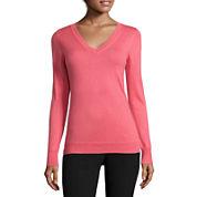 Worthington® Long-Sleeve Essential V-Neck Sweater - Tall