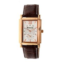 Heritor Frederick Mens Brown Strap Watch-Herhr6104