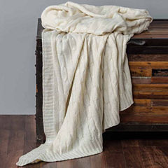 Rizzy Home Classic Cable Knit With Foil Print Reversible Throw