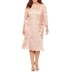 Natures Purest 3/4 Sleeve Evening Gown-Plus