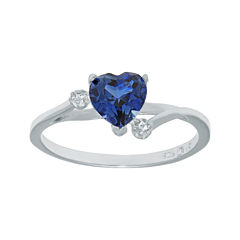 Lab-Created Blue Sapphire and Genuine White Topaz Sterling Silver Heart-Shaped Ring