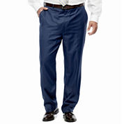 Stafford® Travel Medium Blue Flat-Front Suit Pants - Portly Fit