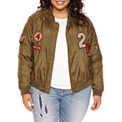 Arizona Bomber Jacket with Patches - Juniors Plus