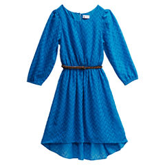 Emily West Belted Long Sleeve Skater Dress - Big Kid Girls