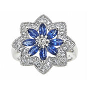 LIMITED QUANTITIES  Genuine Blue Sapphire and Lab-Created White Sapphire Flower Ring
