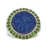 LIMITED QUANTITIES Genuine Blue Drusy Quartz and Green Chrome Diopside Round Ring