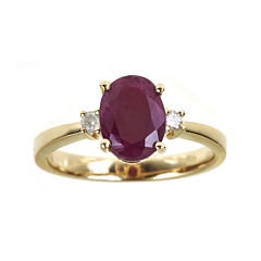 LIMITED QUANTITIES  Oval Lead Glass-Filled Indian Ruby and Diamond-Accent Ring