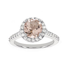 Blooming Bridal Genuine Morganite and Diamond 14K White Gold Bridal Ring