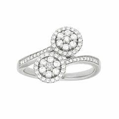Diamond Blossom Womens 1/2 CT. T.W. Genuine White Diamond Sterling Silver Cocktail Ring