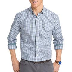 IZOD Long-Sleeve Essential Tattersal Woven Cotton Poplin Shirt