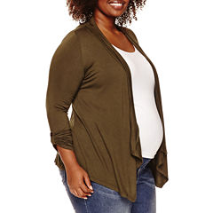 Maternity 3/4-Sleeve Open Cardigan - Plus