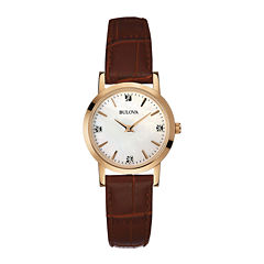 Bulova® Womens Diamond-Accent Brown Leather Strap Watch 97P105