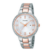 Pulsar® Business Womens Crystal-Accent Stainless Steel Bracelet Watch PJ2012