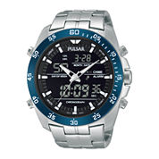 Pulsar® Mens Analog/Digital Stainless Steel Chronograph Watch PW6013