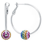 Sparkle Allure Crystal Silver Over Brass Hoop Earrings