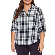 Stylus™ Long-Sleeve Boyfriend Utility Button-Front Shirt - Plus
