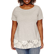 Stylus™ Short-Sleeve Two-for-One Lace Tee - Plus
