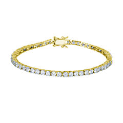 DiamonArt® 18K Yellow Gold over Silver CZ Tennis Bracelet