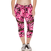 City Streets® Mesh-Inset Performance Cropped Leggings - Juniors Plus