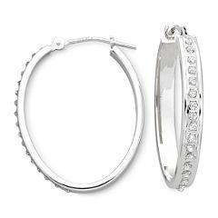 Diamond Fascination™ 14K White Gold Oval Hoop Earrings