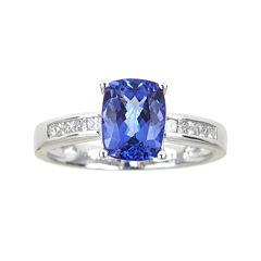 LIMITED QUANTITIES  Cushion-Cut Genuine Tanzanite and 1/5 CT. T.W. Diamond Ring