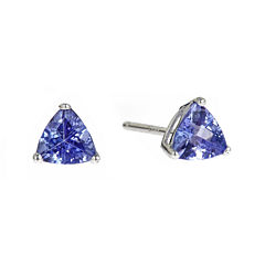 LIMITED QUANTITIES  Trillion-Cut Genuine Tanzanite Sterling Silver Earrings