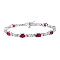 Oval Lab-Created Ruby and Cubic Zirconia Tennis Bracelet