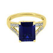 Lab-Created Blue and White Sapphire Split-Shank Ring