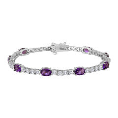 Oval Lab-Created Amethyst and Cubic Zirconia Tennis Bracelet