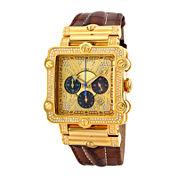 JBW Phantom Mens 2⅜ CT. T.W Diamond Square Brown Leather Strap Watch JB-6215-238-A