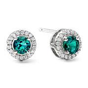 1/10 CT. T.W. Diamond & Genuine Emerald Stud 10K White Gold Earrings