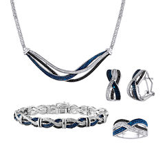 1/5 CT. T.W. White & Color-Enhanced Black & Blue Diamond 4-pc. Jewelry Set