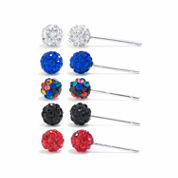 Sparkle Allure Crystal Silver Over Brass Earring Sets
