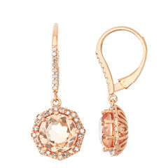Simulated Morganite Quartz And 1/3  C.T. T.W. Diamond 10K Rose Gold Earrings