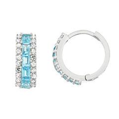 Genuine Swiss Blue Topaz And 1/2 C.T. T.W.Diamond 10K White Gold Earrings
