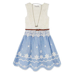 Knit Works Sleeveless Chambray Lace Dress - Girls' 7-16