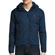 U.S. Polo Assn.® Diamond Quilted Hooded Jacket with Sherpa Lining