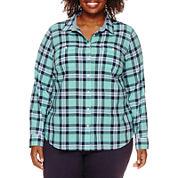 St. John's Bay® Long-Sleeve Camp Shirt - Plus