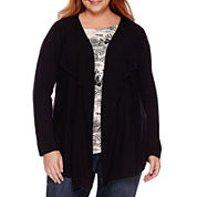 Liz Claiborne® Long-Sleeve Open Cardigan - Plus