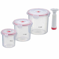 Lasting Freshness 7-piece Vacuum Food Storage Containers, Round