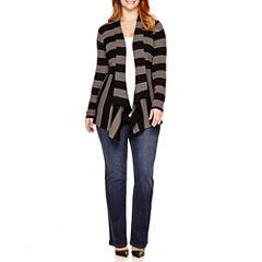 St. John's Bay® Ribbed Flyaway Cardigan, Crewneck T-Shirt or Straight-Leg Jeans - Plus