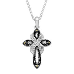 Sparkle Allure Womens Clear Silver Over Brass Pendant Necklace