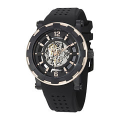 Stührling® Original Mens Gold-Tone Bezel Black Silicone Strap Skeleton Automatic Watch