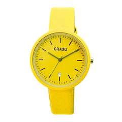 Crayo Womens Easy Yellow Leather-Band Watch With Date Cracr2405