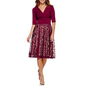 Melrose 3/4-Sleeve Ruched-Waist Lace Skirt Fit-and-Flare Dress - Petite
