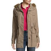 Liz Claiborne Long Sleeve Faux Fur Trim Anorak Jacket