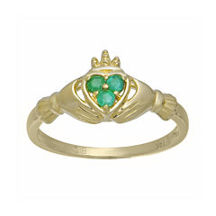 Heart-Shaped Genuine Emerald 10K Yellow Gold Claddagh Ring