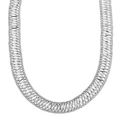 Sterling Silver Woven X-Design Necklace